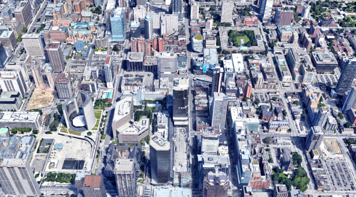 An arial photo of the downtown core of Toronto showing the parish of Holy Trinity